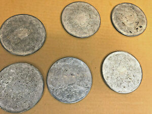 FT1-Vintage-Silverplate-set-of-6-coasters-bar-decor-old-used-unique-3-5-034-dia