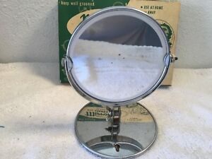 Vintage Make-Up Shaving Vanity Double Sided Swivel Mirrors /w Stand Or Mount 5""