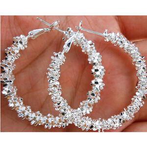 Lady-Circle-boucles-d-039-oreilles-bijoux-plaque-argent-Hoop-Dangle-boucle-d-039-oreilAS