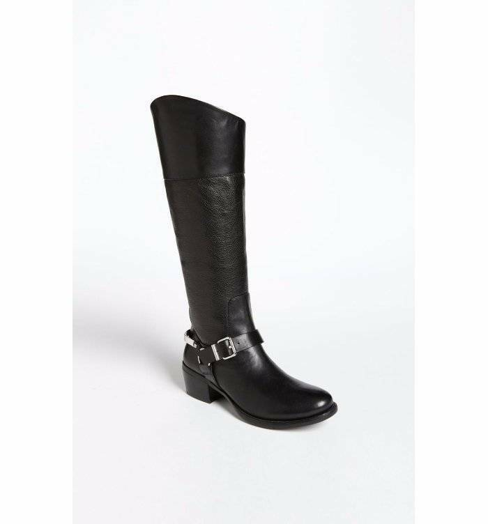Vince Camuto Brunah Knee High Riding Boots  Leather Black 7.5 $239