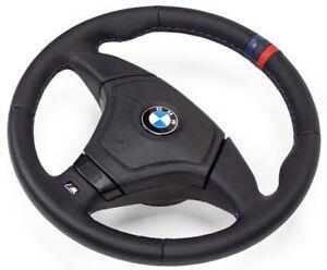 Leder-Lenkrad-Lederlenkrad-BMW-M3-E46-Steering-Wheel-mit-Airbag-DREI-STREIFEN