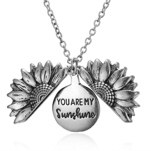 "/""You Are My Sunshine /""Open Locket Sunflower Pendant Chain Fashion Women Necklace"