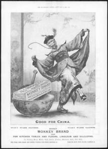 1898-Antique-ADVERTISING-Print-BROOKES-Monkey-Brand-Soap-Good-For-China-210