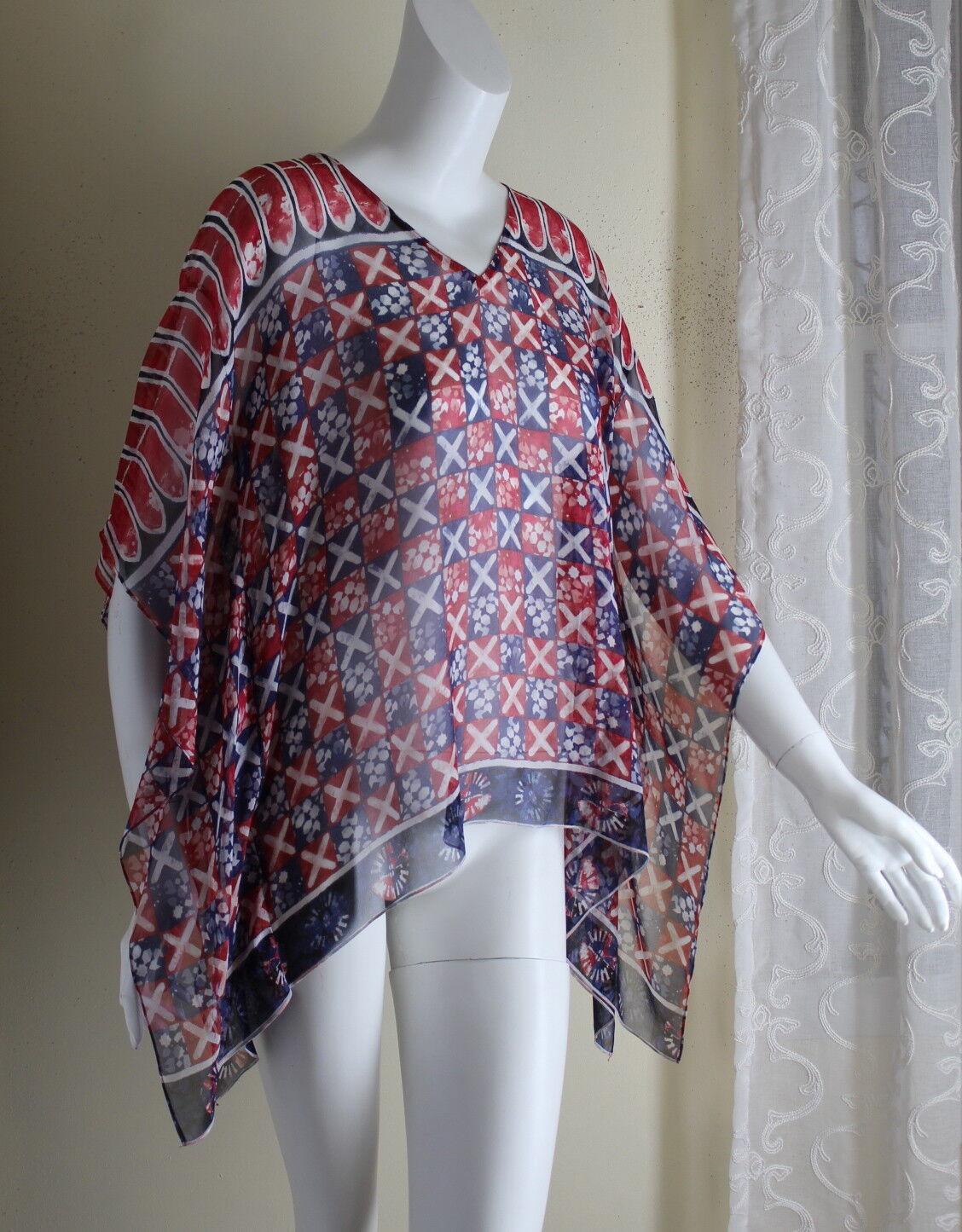 WORTH Collection Sz XS 0 2 P Silk Kaftan Flowing Art-to-Wear Lagenlook Tunic Top