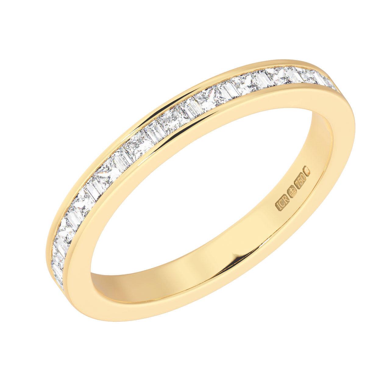 0.35CT Princess & Baguette Cut Diamonds Half Eternity Ring in 9K Yellow gold