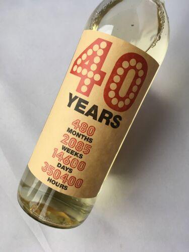 40th Birthday Kraft Wine Bottle Label Gift months days weeks 40 Years in Time