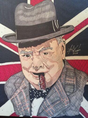 8.5x11 Winston Churchill Sketch Limited Edition Print By Artist TonyK