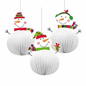 image is loading 3 x honeycomb snowman 3d xmas hanging party