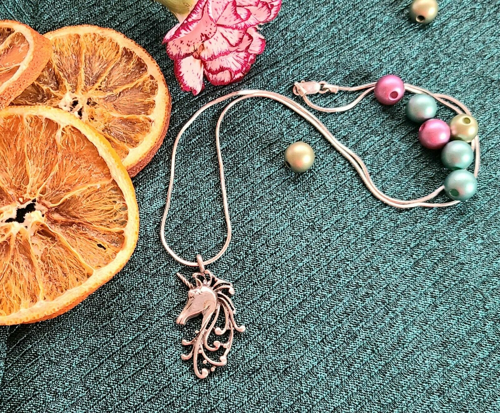 Vintage Sterling Silver Unicorn Pendant Necklace … - image 3