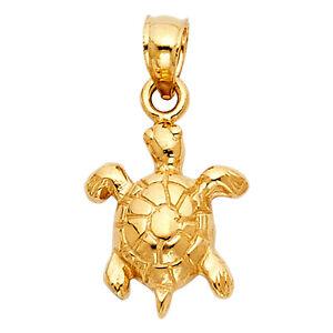 14K-Solid-Real-Yellow-Gold-Diamond-Cut-Small-Sea-Turtle-Tortoise-Charm-Pendant