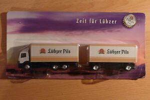 Modellino-autocarro-per-birra-Rimorchio-trasporto-Mercedes-Benz-Atego-Lubzer