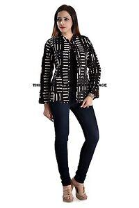 Indian-Cotton-Quilted-Reversible-Black-Blazer-Women-Girls-Ethnic-Jacket-Overcoat