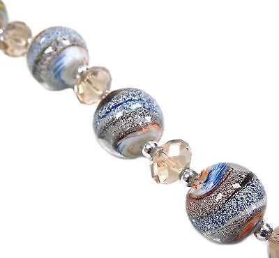 13pcs Earthy Swirly Round Silver Foil Lampwork Glass Bead 15mm New