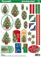 Christmas Tree Holographic Pyramid Die-cut Sheet for cards and crafts