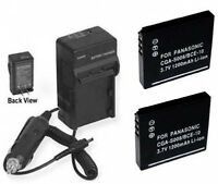 2 Batteries + Charger For Panasonic Sdr-s9 Sdr-s10 Sdr-s10p Sdr-s10pc Sdr-s10p1