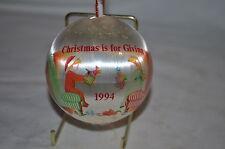 CHRISTMAS IS FOR GIVING 1994  SATIN  CHRISTMAS ORNAMENT vintage