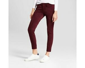 Mossimo-Women-039-s-Mid-Rise-Curvy-Skinny-Faux-Suede-Power-Stretch-Jeans-4-Burgandy