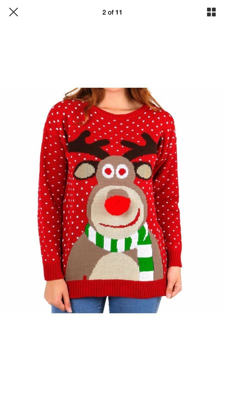 Women's Christmas Jumper'S Femmes Renne Rudolph Rudolph Rudolph Bambi Tricot Noël pompon Top 65d07b