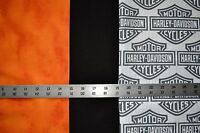 1 Fq Each Harley Davidson Shield Logo, Orange Tonal &black Quilt Sew Fabric 3 Fq