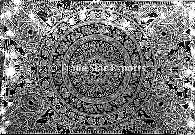 Fatima Hamsa Hand Tapestry Mandala Black And White Wall Hanging Boho Decor Ebay
