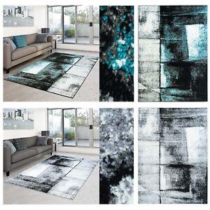 Teppich-Play-Flachflor-modernes-abstraktes-Design-tuerkis-grau-Wohnzimmer-NEU