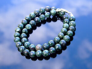 Seraphinite-Natural-Gemstone-Necklace-8mm-Beaded-Silver-16-30inch-Healing-Stone