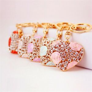 Heart-Key-Chain-Crystal-Rhinestone-Pendant-Keyring-Women-Handbag-Charm-Accessory