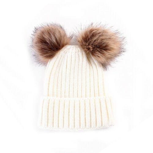 Toddler Kid Girl Boy Winter Warm Crochet Knit Fur Pom Hat Infant Baby Beanie-Cap