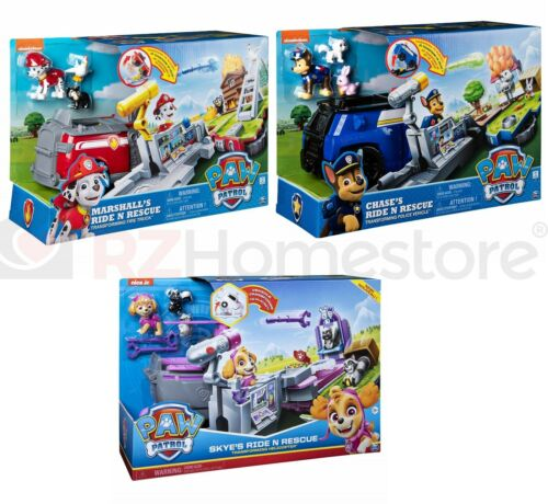 Skye Chase Marshall PAW Patrol Transforming Ride n Rescue 2-in-1 Playset
