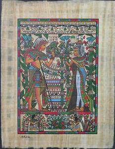 New Hand Painted Egyptian Art on Papyrus Tutankhamun Burial Mask A15