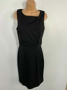 WOMENS-DOLLY-amp-DOTTY-BLACK-BUTTON-FRONT-50-039-S-VINTAGE-ROCKABILLY-WIGGLE-DRESS-UK10