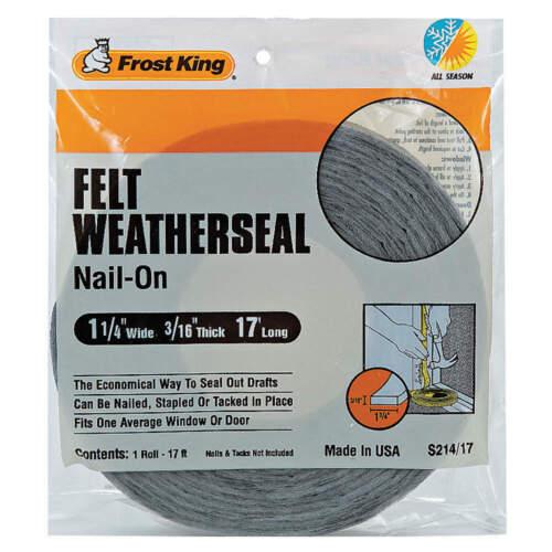 FROST KING S214//17H Weatherseal,17 ft.,Gray,Felt