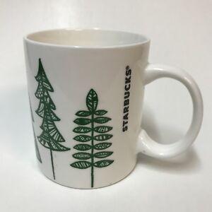 2015-Starbucks-Christmas-Tree-Mug-Evergreen-Trees-Coffee-Cup-White-Green-12-Oz