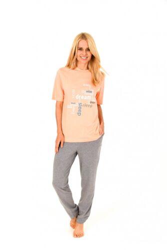 171 201 90 828 Damen Pyjama lange Hose und kurzarm Oberteil