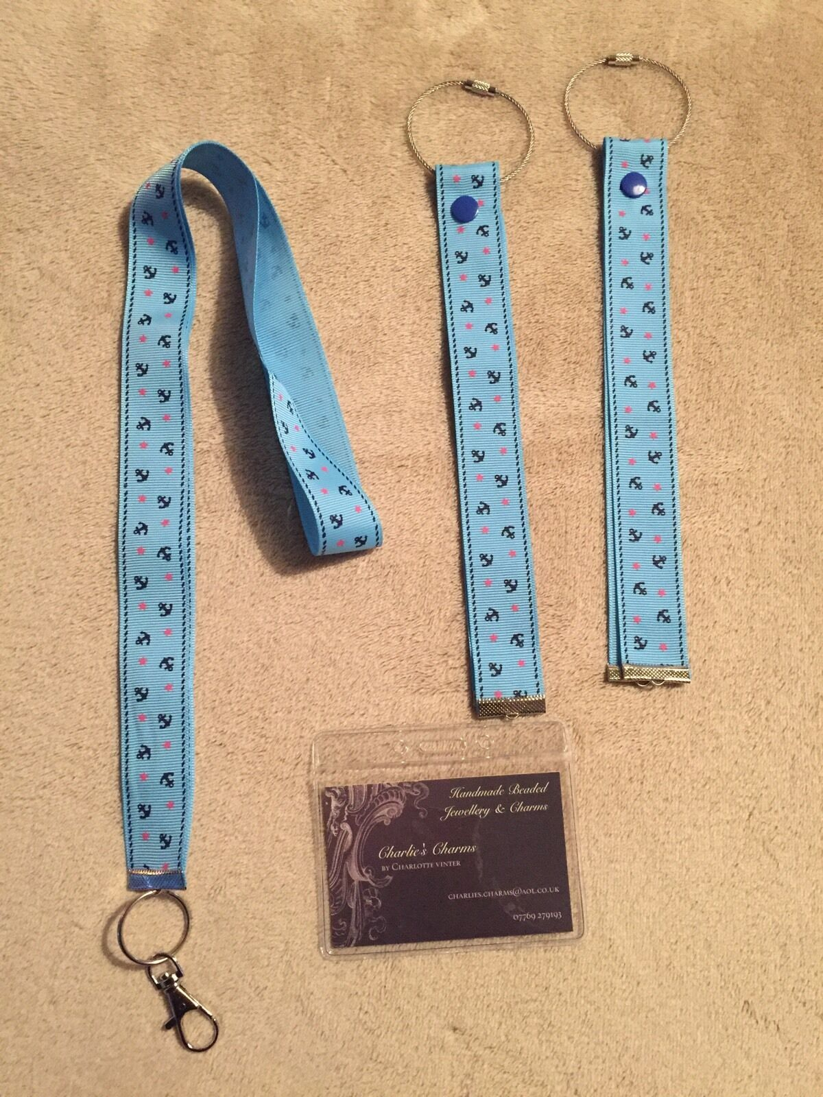 Cruise Card Holder & Matching Luggage Ribbons In Gorgeous Pale Blue Anchor Print