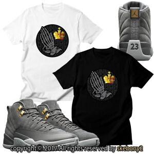 NEW Nike Air Jordan XII Retro 12 DARK GREY CUSTOM T SHIRT JD 12-2-1 ... 98d16b7d96ea