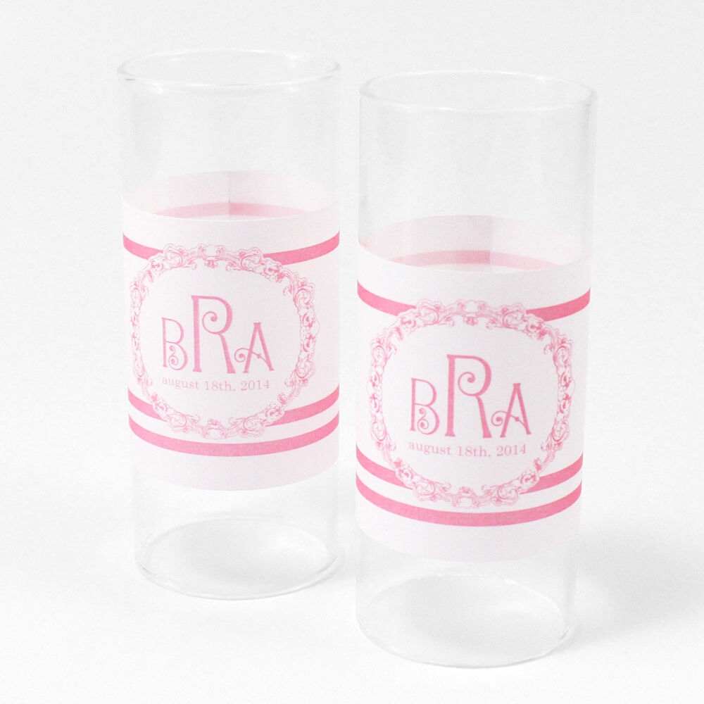 48 Rococo Monogram Personalized Mini Tealight Luminaries Candle Wedding Favors