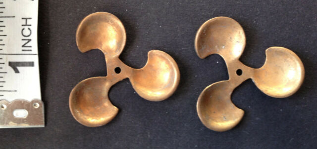 2 Antique Brass / Copper THREE BLADE PROPELLERS Stampings vintage 1890's