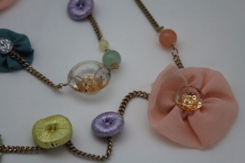 Women Fashion Gold Chain Long Artsy Necklace Fabric Flower Button Charm Earrings