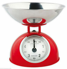RETRO KITCHEN SCALES STAINLESS STEEL BOWL 5 KILOS MAXIMUM RED