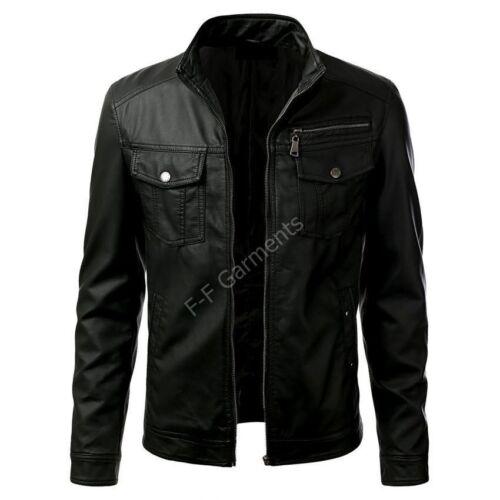 Mens Biker T6 Pocket Real Leather Jacket