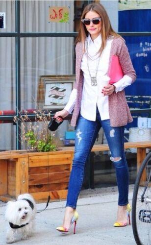 Zip Olivia Zara Giacca Metallic Peplo Medium Cardigan Palermo Taglia M wqTU6H7Un