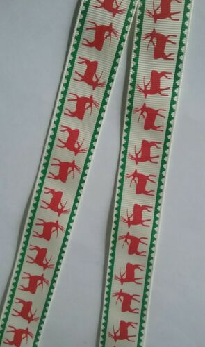 Red reindeer cream ribbon lanyard breakaway ID badge holder Christmas gift a