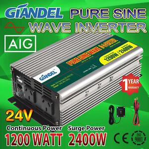 Pure Sine Wave Inverter 1200W/2400W Max 24V 240V+4.5M Remote Cable Boat Truck