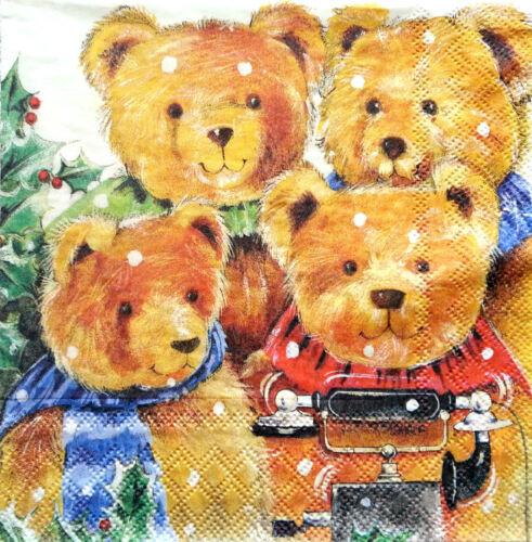 4 Vintage Table Paper Napkins for Decoupage Lunch Decopatch Craft  Lovely Bears