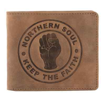 Brown Leather Mens Wallet with Northern Soul Keep The Faith Logo by Mustard