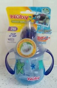 Nuby 1-Pack Designer Series No Spill Flip N Sip Twin Handle Cup with Weighted 9