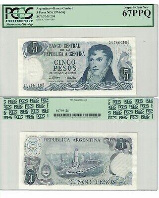 Belgrano // Mnmt of the Flag Rosario UNC see w//m Gen 5 Pesos Argentina P294