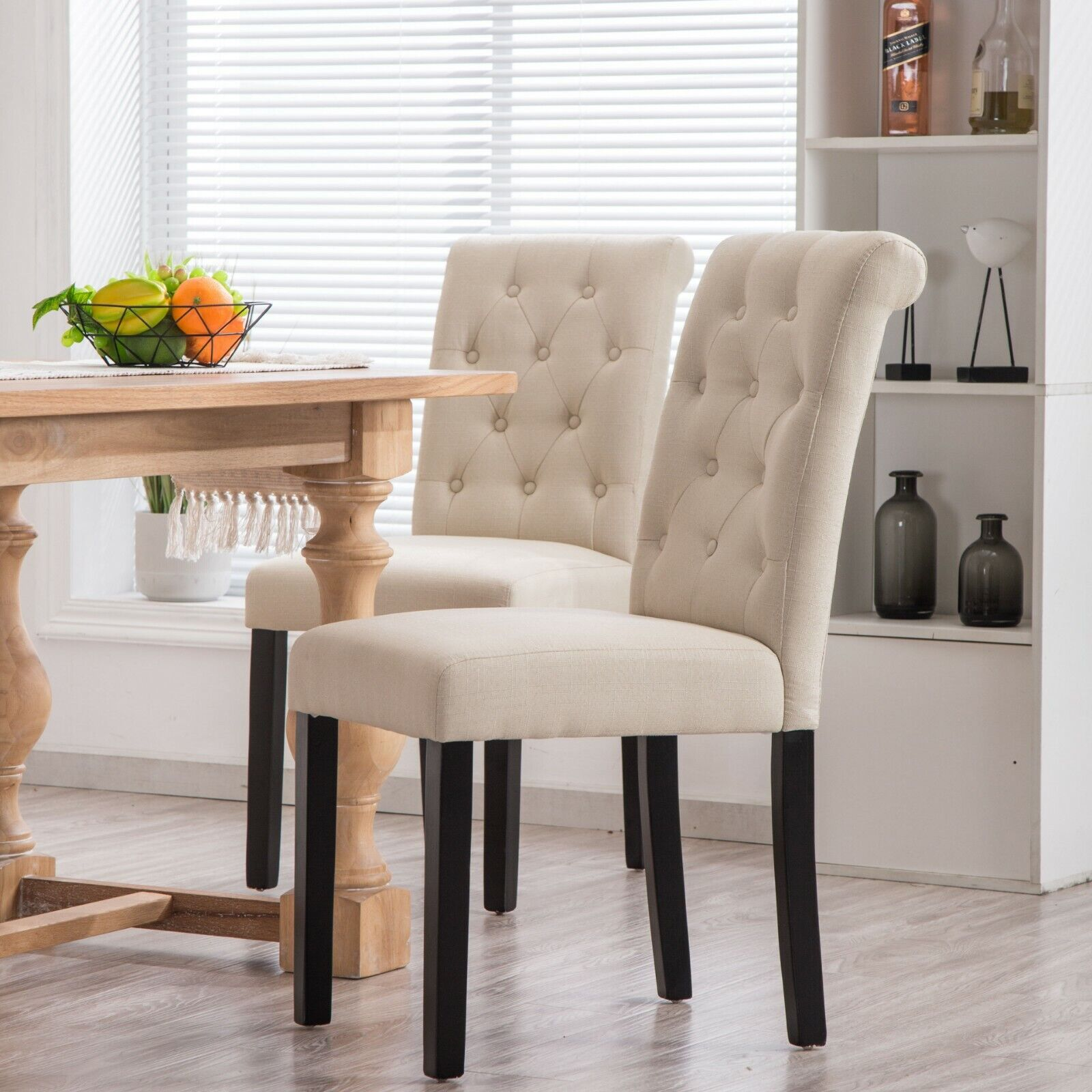 Yeefy Fabric Habit Solid Wood Tufted Parsons Dining Chair