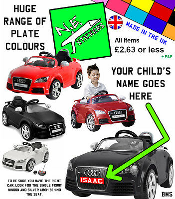 Personalised Number Plate(s) to fit kids Audi TT RS 6V electric ride on toy car | eBay